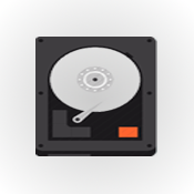 Hard drive, an illustration of extracting data from a hard drive (round circle with twitter bird inside)